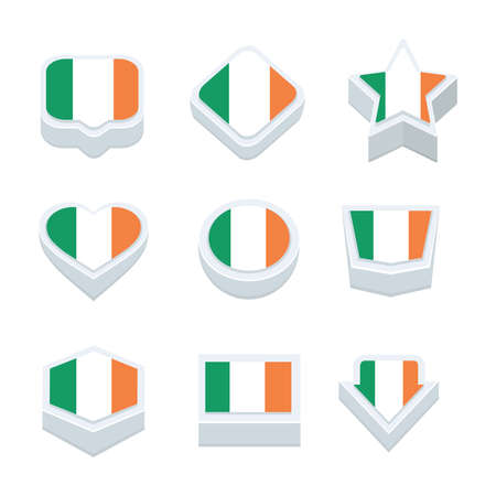 regional: Ireland flags icons and button set nine styles Illustration