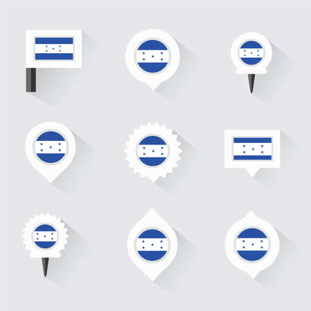 bandera honduras: honduras flag and pins for infographic, and map design Vectores