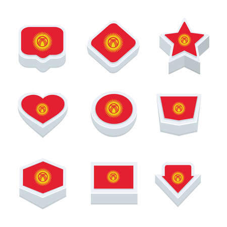 regional: Kyrgyzstan flags icons and button set nine styles