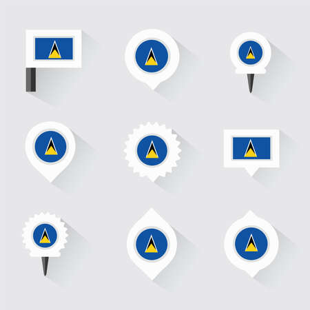 st lucia: st lucia flag and pins for infographic, and map design Illustration