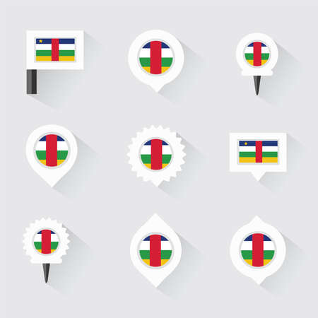 esp: central african republic flag and pins for infographic, and map design