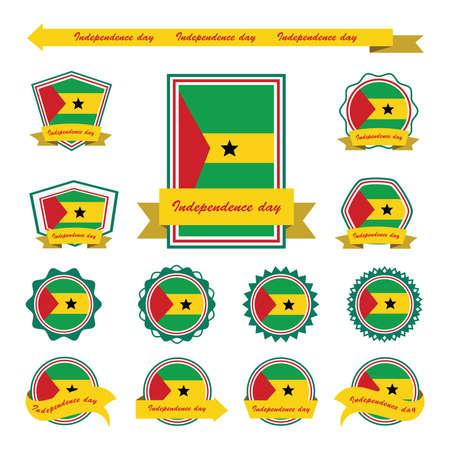 principe: Santo Tom� y banderas principe d�a de la independencia de dise�o infogr�fico Vectores
