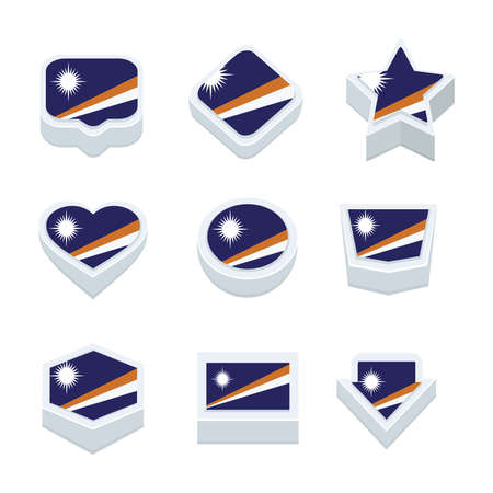 marshall: Marshall Islands flags icons and button set nine styles