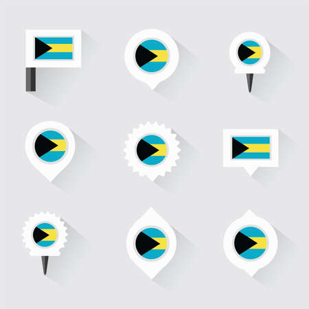 bahamas: bahamas flag and pins for infographic, and map design