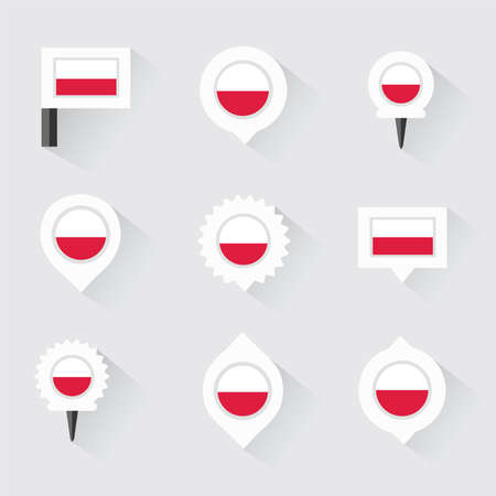 poland flag: poland flag and pins for infographic, and map design