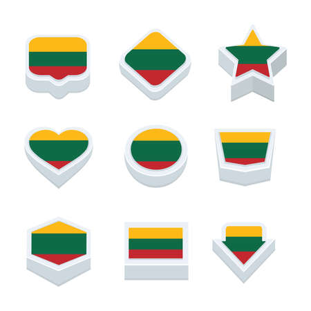 nine: lithuania flags icons and button set nine styles