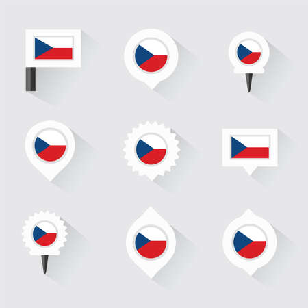 czech republic flag: czech republic  flag and pins for infographic, and map design Illustration