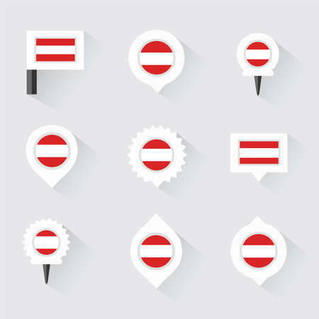 austria flag: austria flag and pins for infographic, and map design Illustration