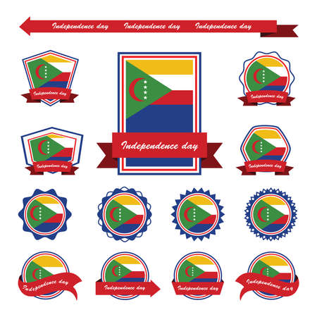 comoros: comoros independence day flags infographic design Illustration