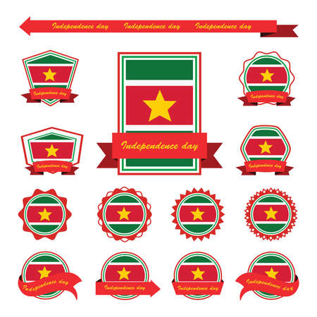 suriname: suriname independence day flags infographic design