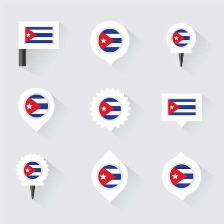 bandera cuba: bandera de Cuba y goznes para infograf�a y dise�o de mapas