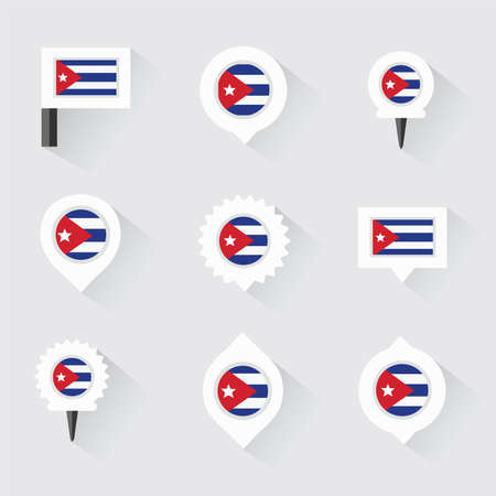kuba flagge: cuba flag and pins for infographic, and map design