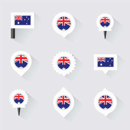 oregon: australia flag and pins for infographic, and map design
