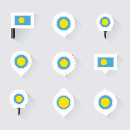 esp: palau flag and pins for infographic, and map design