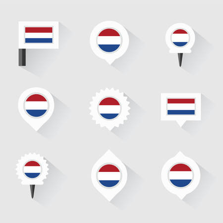 esp: netherlands flag and pins for infographic, and map design Illustration