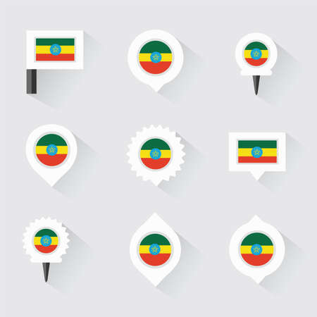 ethiopia  flag: ethiopia  flag and pins for infographic, and map design Illustration