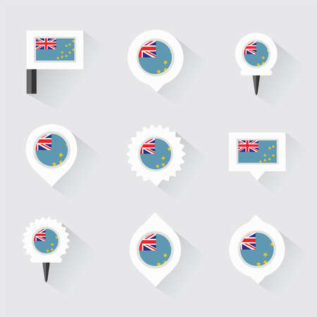 tuvalu: Tuvalu flag and pins for infographic, and map design
