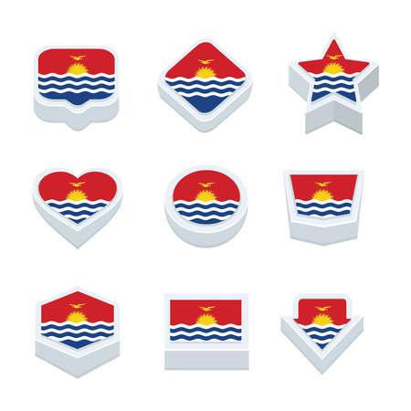 kiribati: Kiribati flags icons and button set nine styles Illustration
