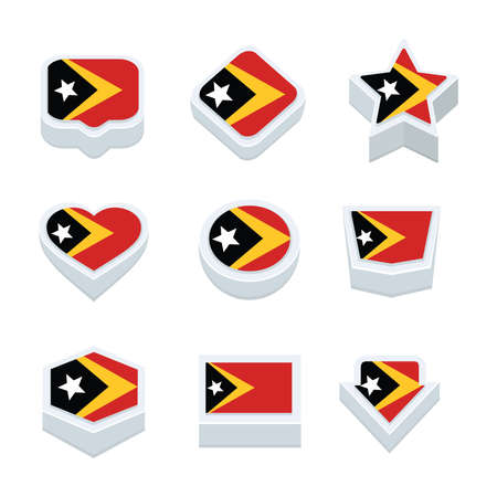 timor: east timor flags icons and button set nine styles