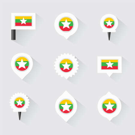 esp: myanmar flag and pins for infographic, and map design Illustration