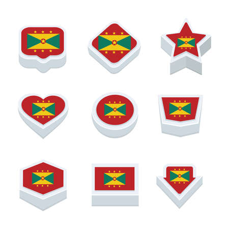 regional: Grenada flags icons and button set nine styles