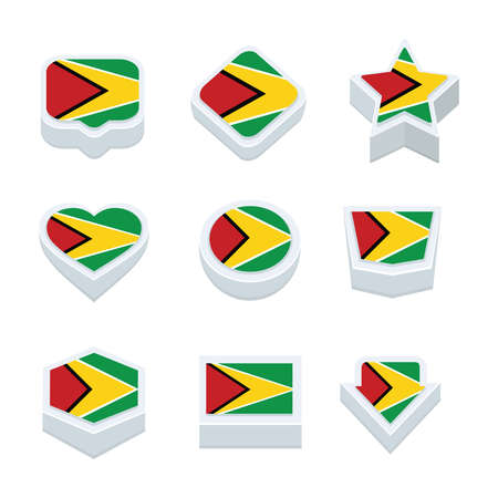 nine: guyana flags icons and button set nine styles