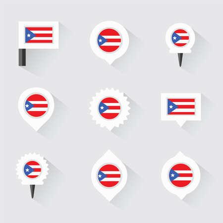 bandera de puerto rico: Bandera PUERTO RICO y pines para infografía y diseño de mapas