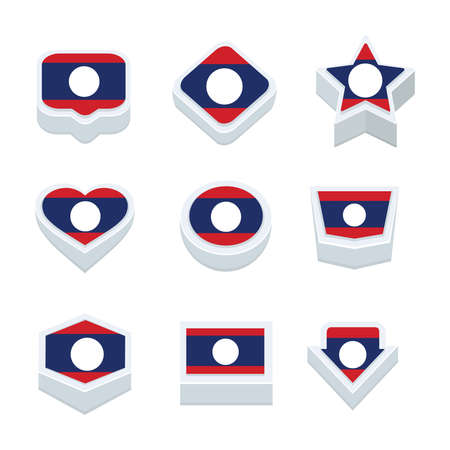 nine: laos flags icons and button set nine styles