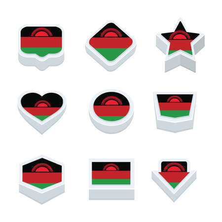 regional: Malawi flags icons and button set nine styles Illustration