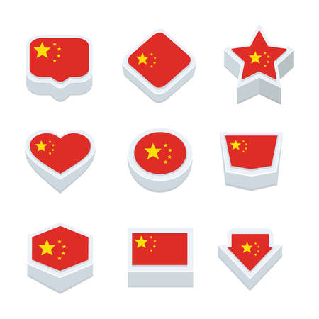 regional: china flags icons and button set nine styles