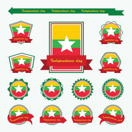 myanmar: myanmar independence day flags infographic design Illustration