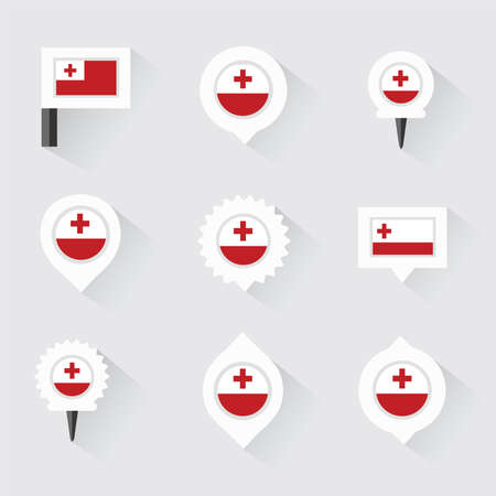 tonga: tonga flag and pins for infographic, and map design