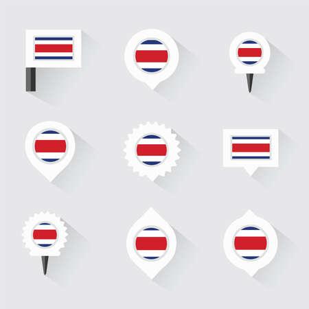 bandera de costa rica: bandera de Costa Rica y los pasadores para infograf�a y dise�o de mapas