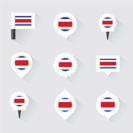 costa rica flag: costa rica flag and pins for infographic, and map design Illustration