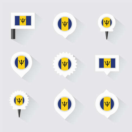 esp: barbados flag and pins for infographic, and map design