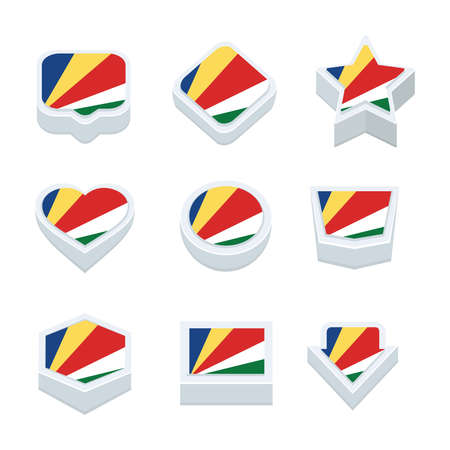 seychelles: seychelles flags icons and button set nine styles Illustration