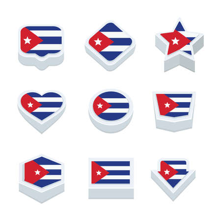 bevel: cuba flags icons and button set nine styles
