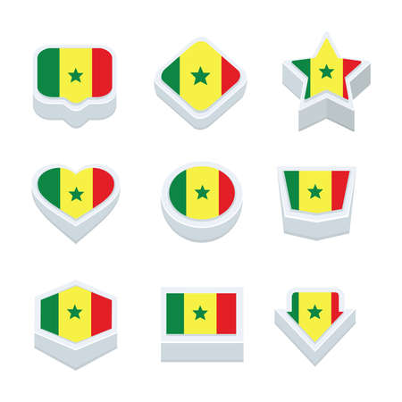 nine: senegal flags icons and button set nine styles