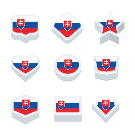 world  hexagon: Slovakia flags icons and button set nine styles