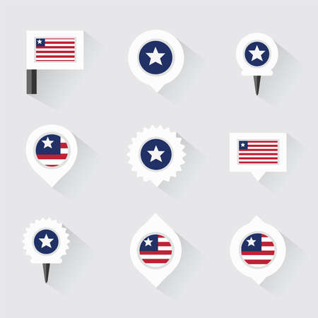 esp: liberia flag and pins for infographic, and map design