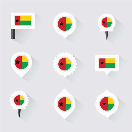 esp: guinea bissau flag and pins for infographic, and map design