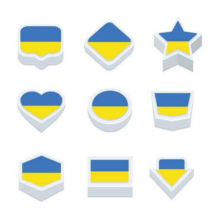 world  hexagon: ukraine flags icons and button set nine styles
