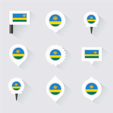 rwanda: Rwanda flag and pins for infographic, and map design Illustration