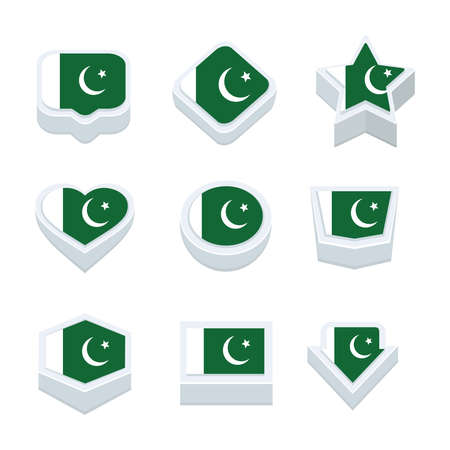 bevel: pakistan flags icons and button set nine styles