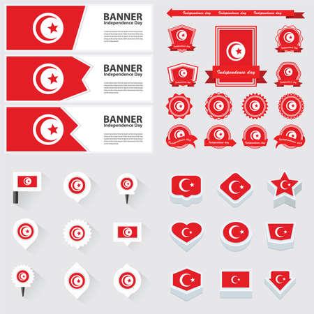 tunisia: tunisia independence day, infographic, and label Set.