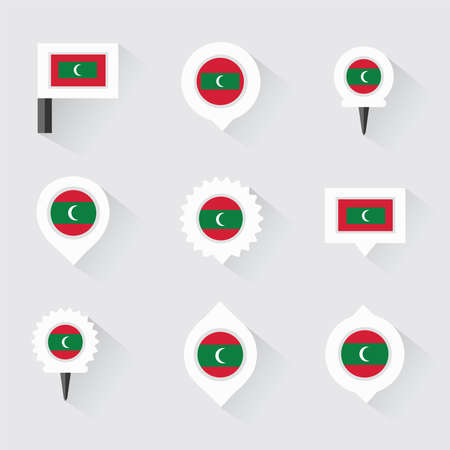 esp: maldives flag and pins for infographic, and map design