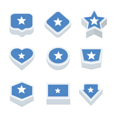 regional: somalia flags icons and button set nine styles