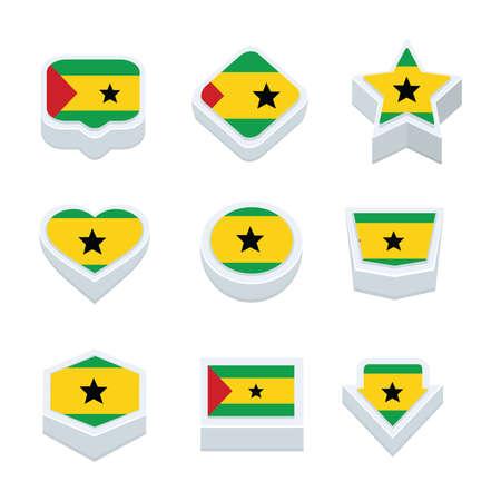principe: sao banderas Tomé y Príncipe iconos y botones establecen nueve estilos