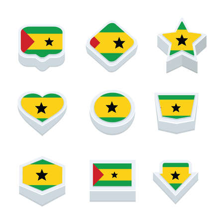 world  hexagon: sao tome and principe flags icons and button set nine styles Illustration