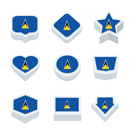 st lucia: st lucia flags icons and button set nine styles